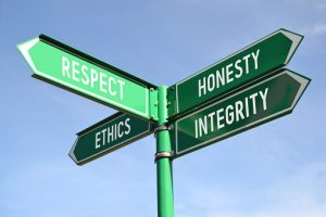Respect, honesty, ethics, integrity signpost