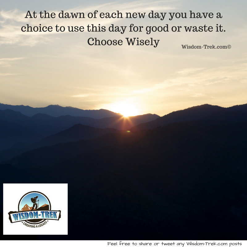 At the dawn of each new day you have a choice to use this day for good or waste it. Choose Wisely