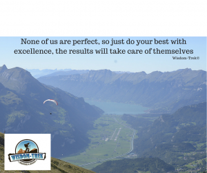 None of us are perfect, so just do your best with excellence, the results will take care of themselves